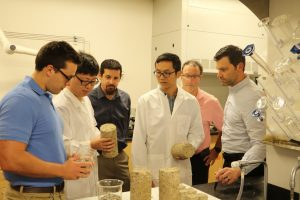 Pictured above, L to R: Logan Herr, Kun Yang, Mike MacDougall, Pan Ni Victor See and John Fox<br /> Lehigh University Graduate Students Kun Yang and Pan Ni explain what they were able to apply from what<br /> they learned in the classroom to an industry project with Material Solution Services, Inc.
